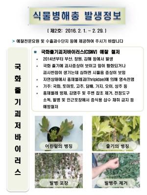 (2016년 2호) 식물병해충 발생정보