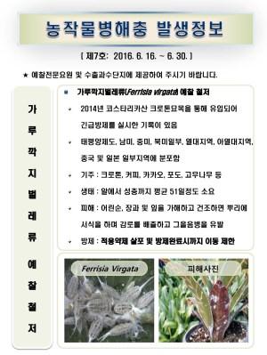 (2016년 7호) 식물병해충 발생정보
