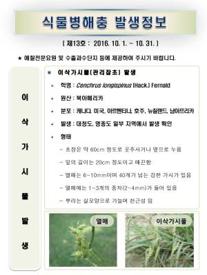 (2016년 13호) 식물병해충 발생정보
