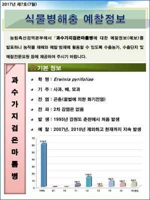 (2017년 7호) 식물병해충 발생정보