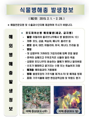 (2015년 2호) 식물병해충 발생정보